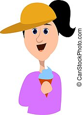 Girl with ice cream, illustration, vector on white background.