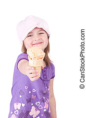 girl with icecream cone - one young girl child with a big ...