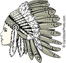 Vector of beautiful girl with traditional chief headdress of American Indian. Boho style.