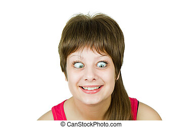Girl with insane eyes on the isolated background