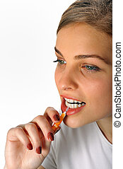 Girl with Interdental Brush in studio