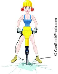Girl with jackhammer - A girl with a pneumatic hammer...