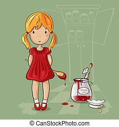 Girl with jam-jar - Little girl with spoon near the jam jar...