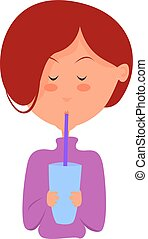 Girl with juice, illustration, vector on white background.