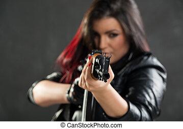 Girl With Kalashnikov Aiming