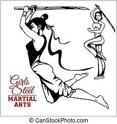 Girl with katana - mma woman fighter. Vector design stock...