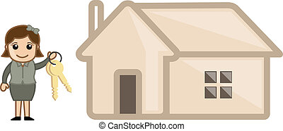 Girl with Keys and House Vector