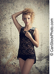 girl with lace babydoll - charming girl with sexy lace ...