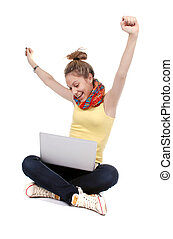 girl with laptop - isolated over a white background