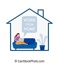 Girl with laptop sitting on the sofa at home. Work from home.