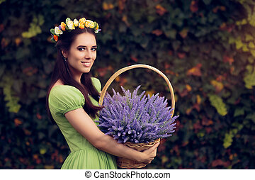 Girl with Lavender Basket