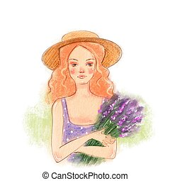 Girl with lavender bouquet