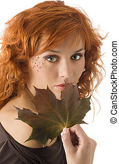 girl with leaf