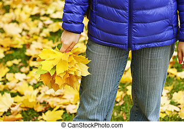 Girl with leaves