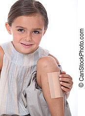Girl with leg injured