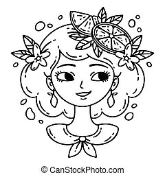Girl with lemon. Lemonade girl. Isolated objects on white background. Vector illustration. Coloring pages.