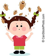 A girl with lice on her head. Vector Illustration