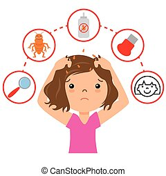 Girl with lice. step by step how to remove lice