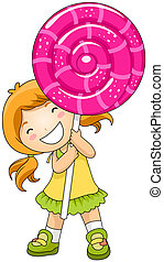 Girl with Lollipop - Gir; with Lollipop with Clipping Path