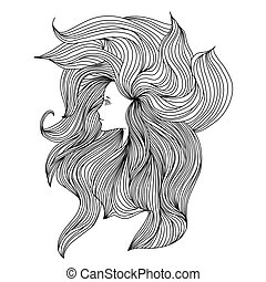 Girl with long beautiful hair. Vector illustration. Black and white sketch.