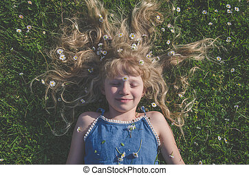 girl with long blond hair portrait