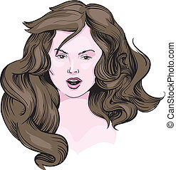 girl with long brown hair vector eps