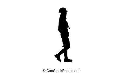 Girl with long hair carries a hammer. Silhouette. White background . Side view