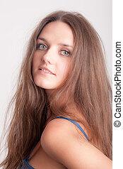 girl with long hair closeup