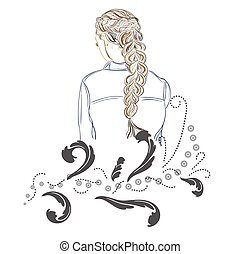 girl with long hair, fashion, sketch style, vector illustration