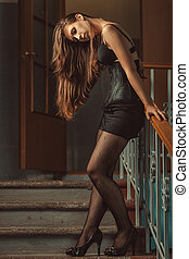 Girl with long hair.