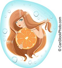Girl with long hair holds an orange