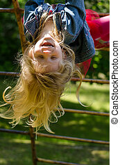 girl with long hair in playground