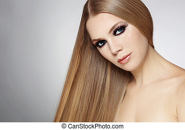 Girl with long hair - Young beautiful woman with long blond...