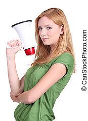 Girl with loudspeaker