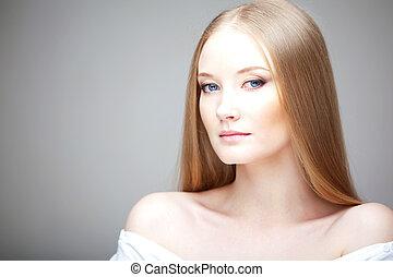 Girl with luxurious hair