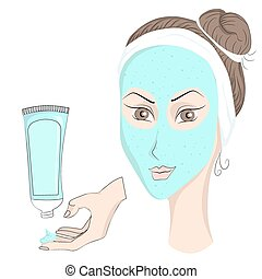 Girl with make up Face mask - Medical prophylactic cosmetics...