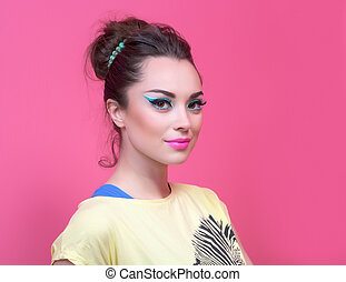 Girl with make-up in bright clothes, retro style.