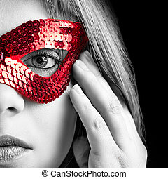 girl with mask - girl in black and white with red mask