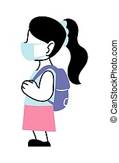 girl with mask going back to school