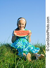 Girl with melon slice