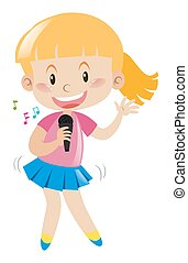 Girl with microphone singing and dancing