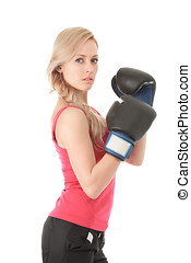 Girl with mitten - Young blonde woman with boxing gloves...