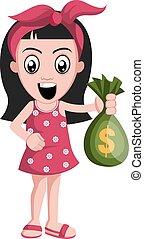 Girl with money bag, illustration, vector on white background.
