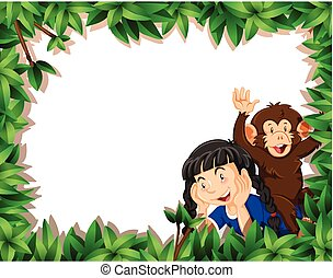 Girl with monkey on nature frame