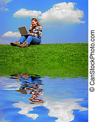 Girl with notebook
