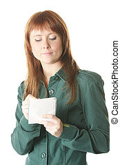 Girl with notepad