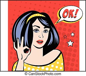Girl with OK Speech Bubble in Popart Style. Vector...