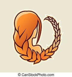 Girl with Orange Hair and Wheat Icon Vector Illustration