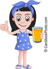 Girl with orange juice, illustration, vector on white background.
