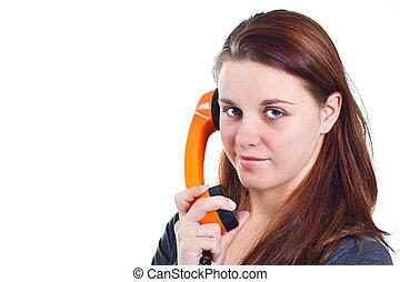 Girl with orange retro telephone